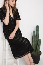 Load image into Gallery viewer, Hollow V Neck Short Sleeve Bohemia Maxi Dress