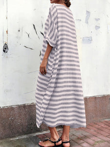 Casual Oversized Striped Round Neck Pocket Long Dress