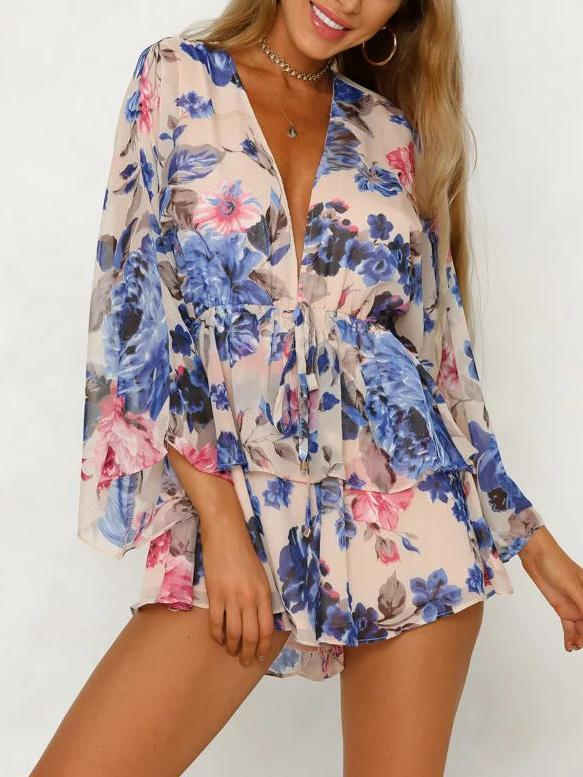 2018 Summer Print Chiffon Long Sleeve Short Rompers