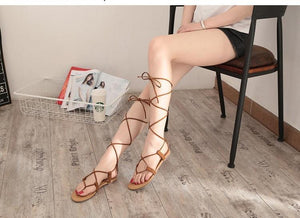 Summer Beach Cross Strap Thong Sandals