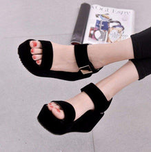 Load image into Gallery viewer, Black Pu Korean Style Metal Platform Hook Loop Peep Toe Gladiator Sandals