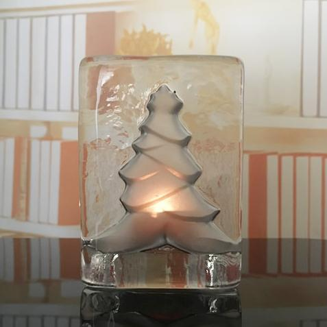 Pinetree glass candle holder Xmas   Christmas