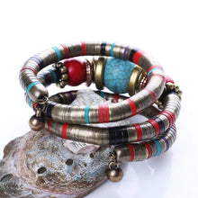 Load image into Gallery viewer, Multilayer Bohemian Turquoise Flexible Bracelet