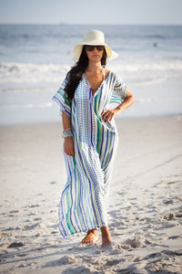 Chiffon Blue And White Stripes Beach Vacation Cover-Up