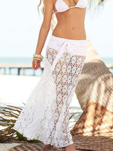 Load image into Gallery viewer, Solid Color Black or White Lace Hollow Maxi Skirt Bottom Two wear Ways