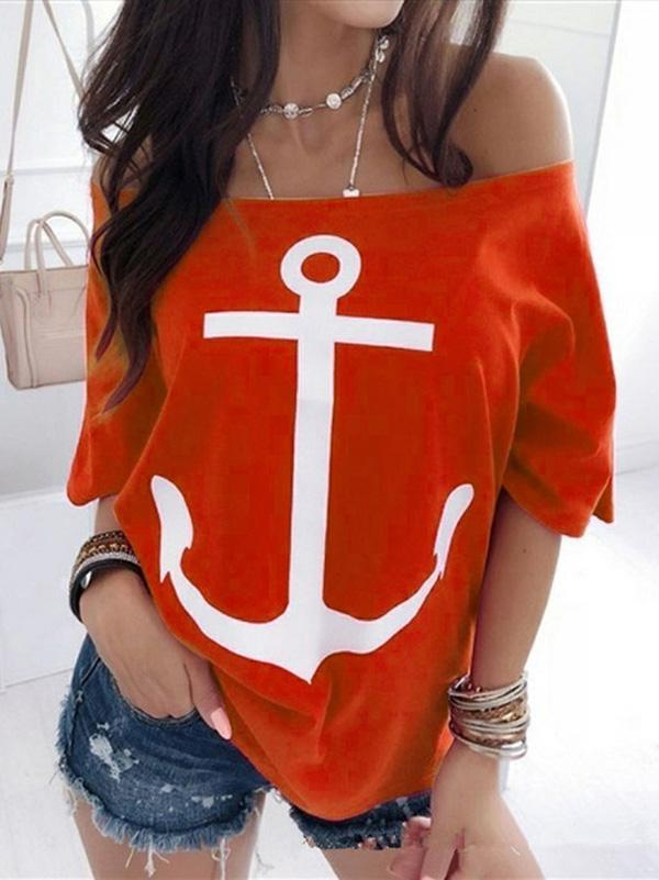 Loose Off Shoulder Printed T-shirt Top