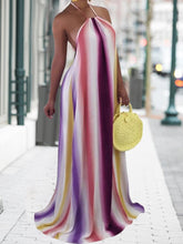 Load image into Gallery viewer, Halter Stripe Backless Summer Dress
