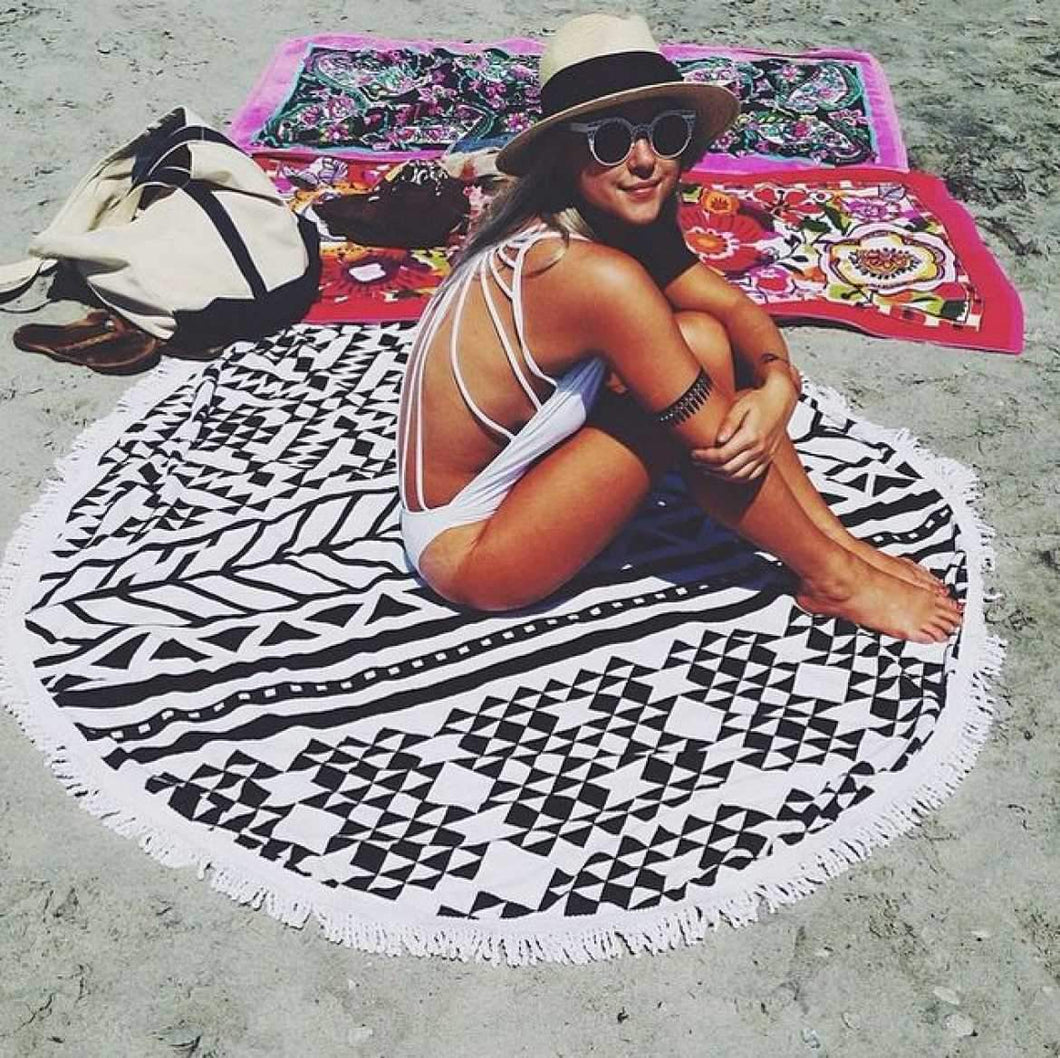 Hot Sale Geometric stitching printing fringed beach towel dual sun protection bath towel Mat