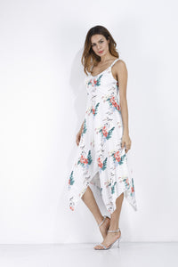 Sexy Printed Spaghetti Strap V Neck Irregular Beach Boho Dress