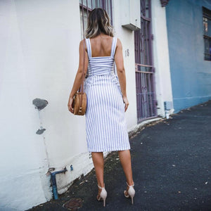 Stripe Button Backless Belted Dress
