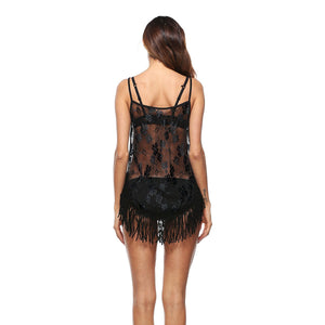 Sexy See Through Spaghetti Strap Tassel Lace Splice Beach Bikini Cover Up