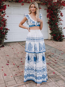Print V Neck Sleeveless Tops High Waist Skirt 2 Pieces Set