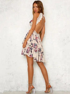 Print Spaghetti Strap Lace Splice Mini Dress
