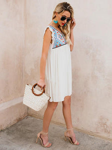 2018 Summer Beach Floral Sleeveless V Neck Mini Dress