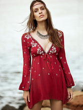 Load image into Gallery viewer, Summer Bohemian Embroidery Sexy V-Neck Lanyard Nine-Sleeve Mini Dress