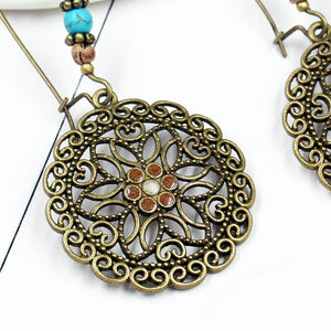 Bohemian Retro Long Hollow Flower Earrings