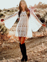 Load image into Gallery viewer, Full Lace Embroidered Flared Sleeve Hollow Vacation Beach Cover-Ups