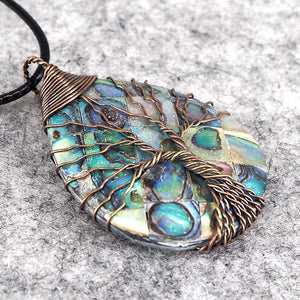 Handmade Natural Abalone Shell Stone Pendant Necklace