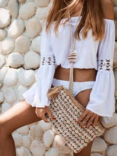 Load image into Gallery viewer, Handmade Sexy One-Shoulder Crochet Long-Sleeved Sunscreen Blouse