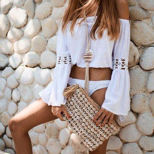 Handmade Sexy One-Shoulder Crochet Long-Sleeved Sunscreen Blouse