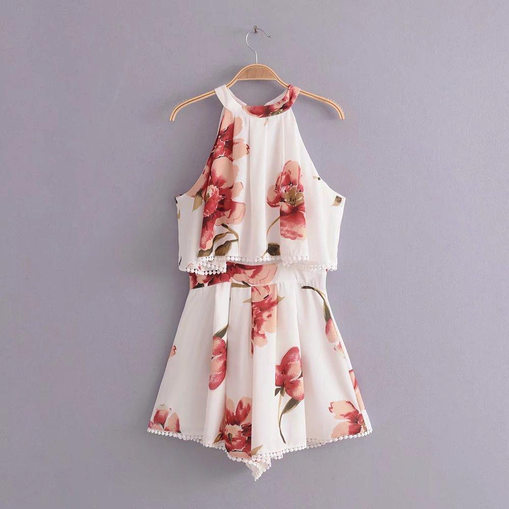 Flower Sleeveless Beach Rompers