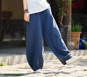 Linen Cotton Vintage High Waist Pants