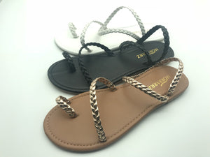 Beach Open Toe Flat Bottom Woven Sandals