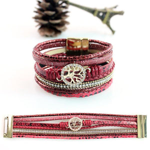 Life Tree Leather Rope Weaving Magnet Buckle Bracelet