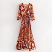 Load image into Gallery viewer, Vintage V Neck Boho Split Maxi Dress