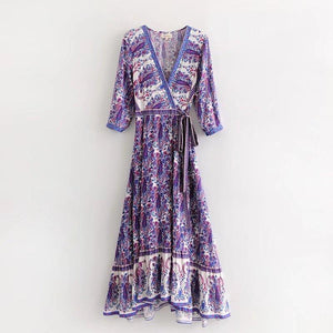 Vintage V Neck Boho Split Maxi Dress