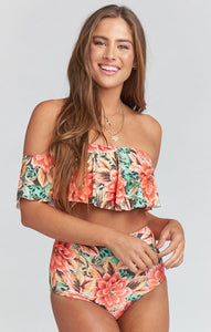 Strapless High Waist Floral Printed Off-the-shoulder Ruffled Swimsuit-2