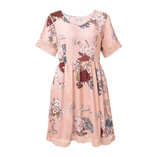 Load image into Gallery viewer, Floral V Neck Casual Half Sleeve Mini Dress