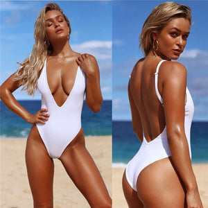 Siamese Solid Color Sexy Swimsuit Deep V-Neck Back Bikini