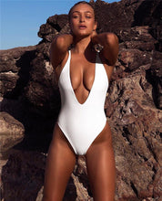 Load image into Gallery viewer, Siamese Solid Color Sexy Swimsuit Deep V-Neck Back Bikini