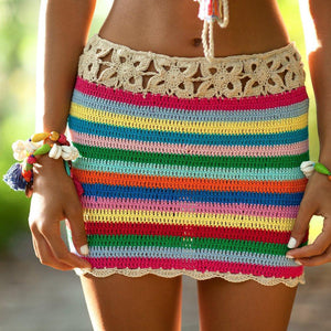 Colorful Stripes Hand Hook Beach Sexy Holiday Sunscreen Top Shorts Skirt Suit
