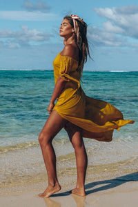 Sexy Off-The-Shoulder Solid Color Irregular Split Beach Dress