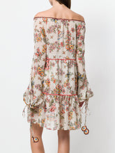 Load image into Gallery viewer, Floral Print V Neck Long Sleeve Bohemia Mini Dress
