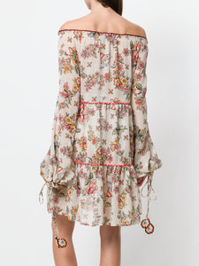 Floral Print V Neck Long Sleeve Bohemia Mini Dress