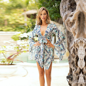 Casual Beach Holiday Print V-Neck Jumpsuit