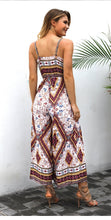 Load image into Gallery viewer, Vintage Print Spaghetti Strap Split Jumpsuit Romper