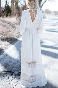 Bohemia V-Neck Stitching Lace Cover-Up Beach Dress