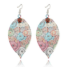 Load image into Gallery viewer, Hollow Leaf Print Metal colorful Earrings