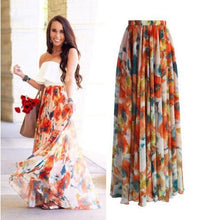Load image into Gallery viewer, Boho Floral Summer Chiffon Beach Skirts