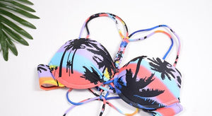 Sexy Split Bikini Braided Straps Coconut Tree Print Swimsuit