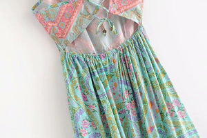 Summer Holiday Floral Print Ruffled Pocket Backless Dress