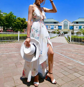 Summer Wild Slim Bohemian Holiday Beach Print Sling Dress