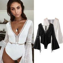 Load image into Gallery viewer, Lace Trumpet Sleeves Vacation Seaside Swimwear Jumpsuit