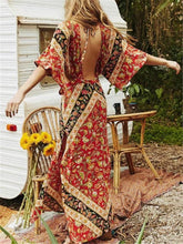 Load image into Gallery viewer, 2018 Vintage Print Bohemia Dress