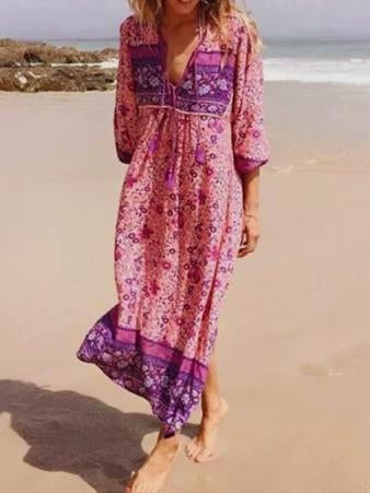 Women s Fashion Polyester Boho Tie Neck Long Sleeve Pleated Day Dress