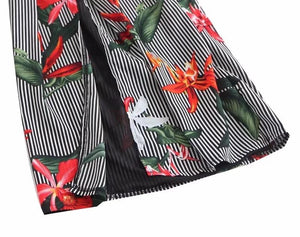 Relax Vacation style Sexy L-back Siamese female print sling piece pants Rompers
